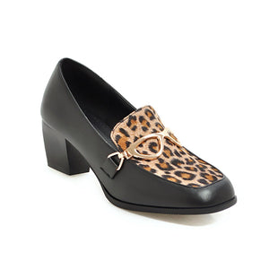 Leopard Print Square Head Large Size Shallow Mouth Women Chunkey Pumps Shoes Thick Heeleded