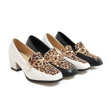 Load image into Gallery viewer, Leopard Print Square Head Large Size Shallow Mouth Women Chunkey Pumps Shoes Thick Heeleded