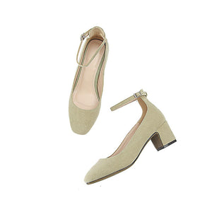 Medium Heeled Square Head Buckle Women Chunkey Pumps Shoes