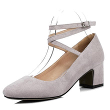Load image into Gallery viewer, Buckle Shallow Mouth Rough Heeled Square Head Women Chunkey Pumps Shoes