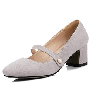 Woman's Shallow Toe Mary Janes Chunkey Pumps