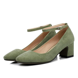 Woman's Suede Thick Heel Square Headbuckle Pumps