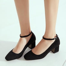 Load image into Gallery viewer, Woman's Suede Thick Heel Square Headbuckle Pumps
