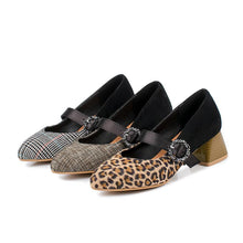 Load image into Gallery viewer, Leopard-print Plus Size Shallow Toe Middle Heeleded Women Pumps