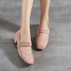 Woman Square Head Shallow Mouth Low Heeled Shoes