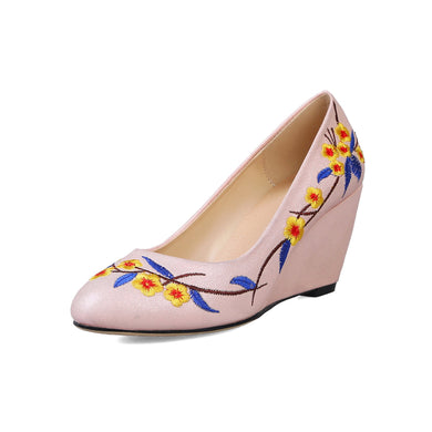 Casual Floral Embroidery Round Head Shallow-mouth Wedges Shoes Woman