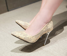 Load image into Gallery viewer, Pointed Toe Sequined Super High Heels Wedding Shoes for Woman