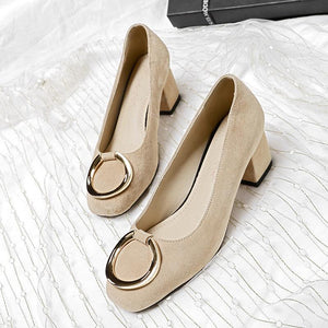 Woman's Shallow-mouthed Square Rough Heel Middle Pumps