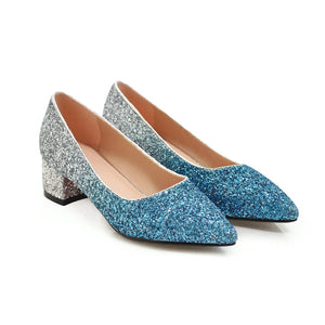 Sequined Middle Heeled Pointed Toe Shallow Mouth Women Pumps