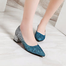 Load image into Gallery viewer, Sequined Middle Heeled Pointed Toe Shallow Mouth Women Pumps