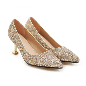 Pointed Toe Sequined High Heels  Shallow Women Pumps Kitten Stiletto Heel Shoes