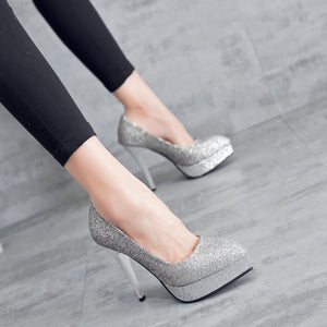 Pointed Toe Sequins Super Spike Heel Women Platform Pumps Stiletto Heel Wedding Shoes