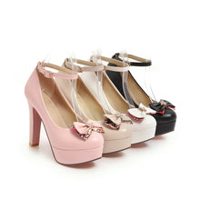 Load image into Gallery viewer, Women's Chunkey Heel Pumps Knot Platform Buckle Shoes
