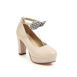 Women's Chunkey Heel Pumps Platform Ultra High Heel Buckle Shoes