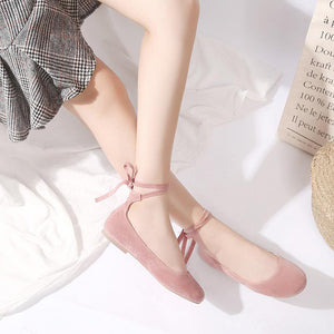 Girls Shallow Round Head Cross Strap Flat Shoes