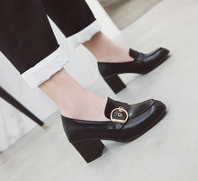 Load image into Gallery viewer, Square Chunky Heels Oxford Shoes