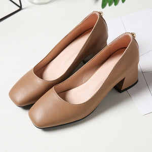 Lady Square Toe Thick Heel Shallow Mouth Woman Chunkey Heels Pumps