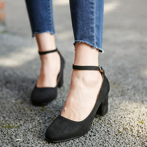 Buckle Belt Shallow Toe Chunky Heels Pumps