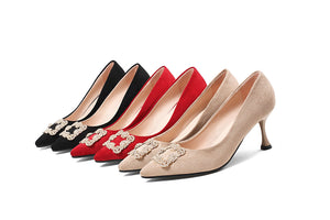 Pointed Toe High Heels Shallow Women Pumps Kitten Stiletto Heel Shoes