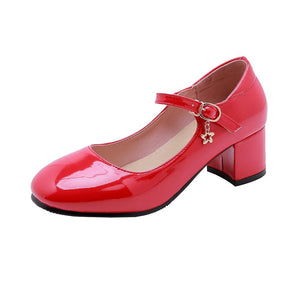 Mary Janes Square Head Buckle Patent Leather Mid Thick Heeleded Shoes