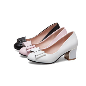 Bow Tie High-heeled Round Head Pumps
