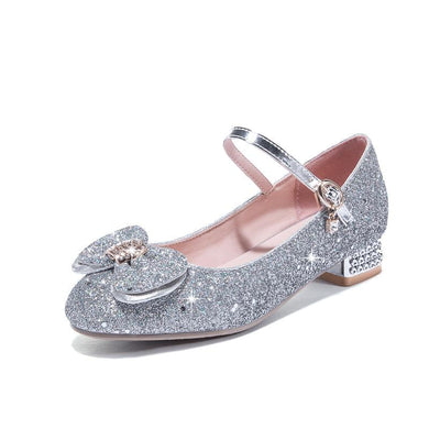 Women's Bow Sequins Low Heels Shoes