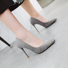 Load image into Gallery viewer, Female Super Spike Heel Rivet Shallow Point Pumps Wedding Shoes