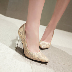 Pointed Toe Sequined Super High Heels Wedding Shoes for Woman