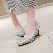 Load image into Gallery viewer, Wedding Shoes Sequins Block Heel Pumps