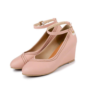 Casual Spring and Autumn Ankle Straps Women Wedges Shoes