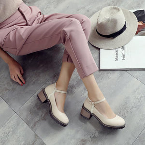 Women's Shallow Buckle Strap Low Heels Shoes