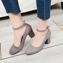 Load image into Gallery viewer, Buckle Belt Shallow Toe Chunky Heels Pumps