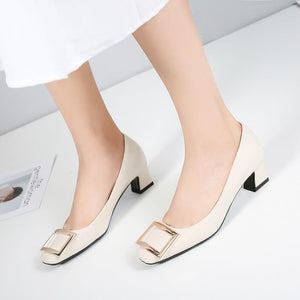 Lady  Simple Thick Heel Square Head Shallow Toe Women Chunkey Pumps