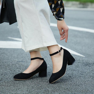 Lady Round Head Rough Heel Shallow Buckle Mid Heels Women Pumps