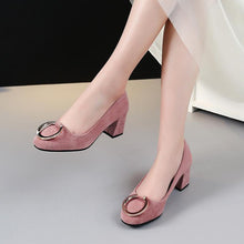 Load image into Gallery viewer, Button Medium Heeled Shallow Mouth Women Pumps
