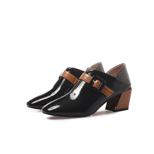 Lady Pointed Toe British Style Mid Heel Women Shoes