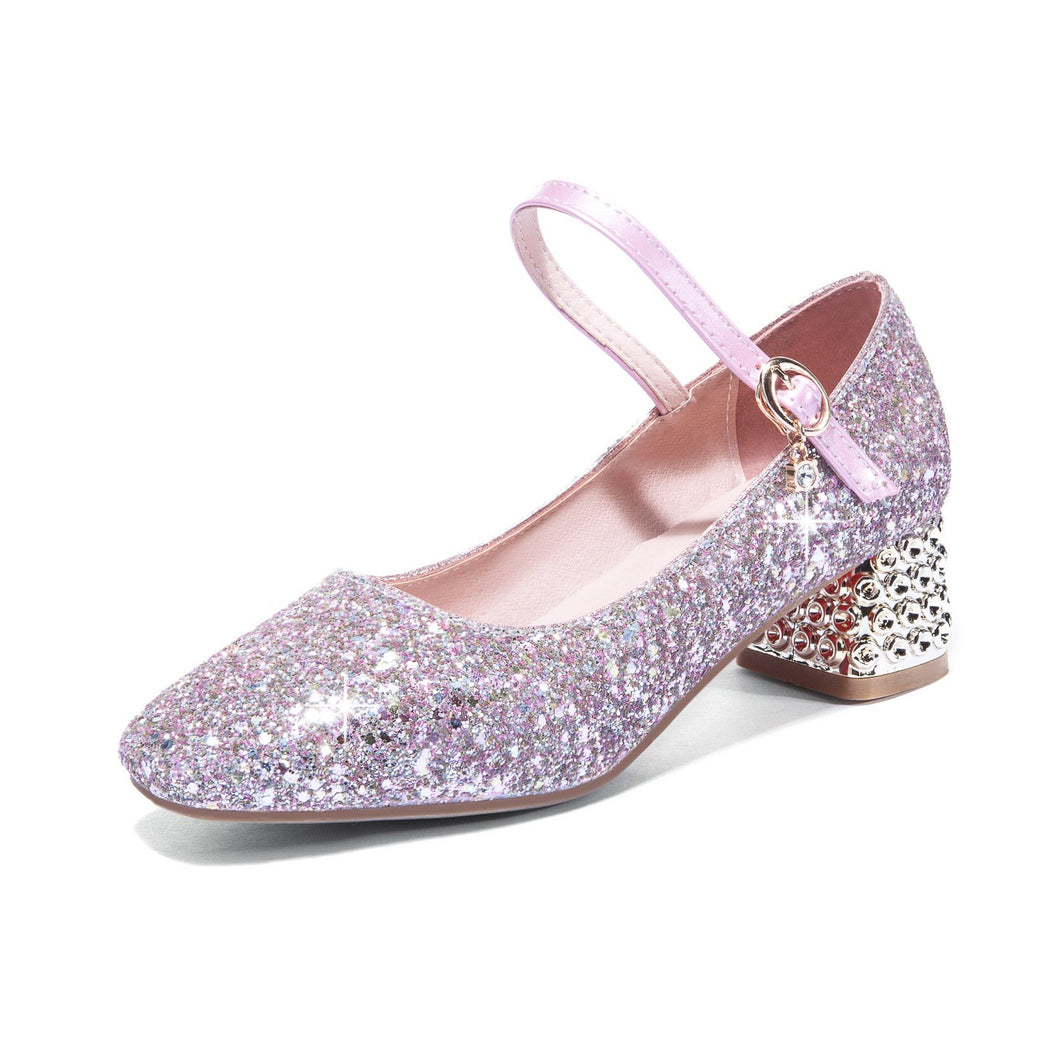 Mary Janes Buckle Shallow Toe Sequined Women Pumps Mid Heeleded Shoes
