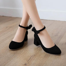 Load image into Gallery viewer, LadyShallow Toe Buckle Thick Heel Woman Chunkey Pumps