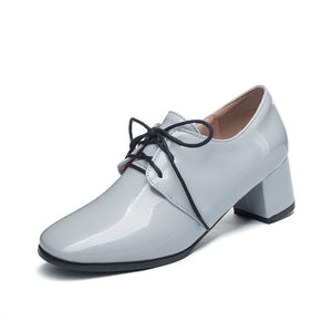 Woman's Lace Up Patent Leather Oxford Shoes British Style Mid Rough Heels
