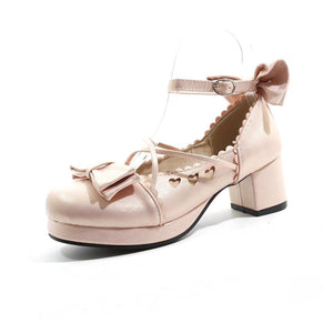 Lady Sweet Buckle Bow Woman Mid Heeled Thick Heel Pumps Shoes