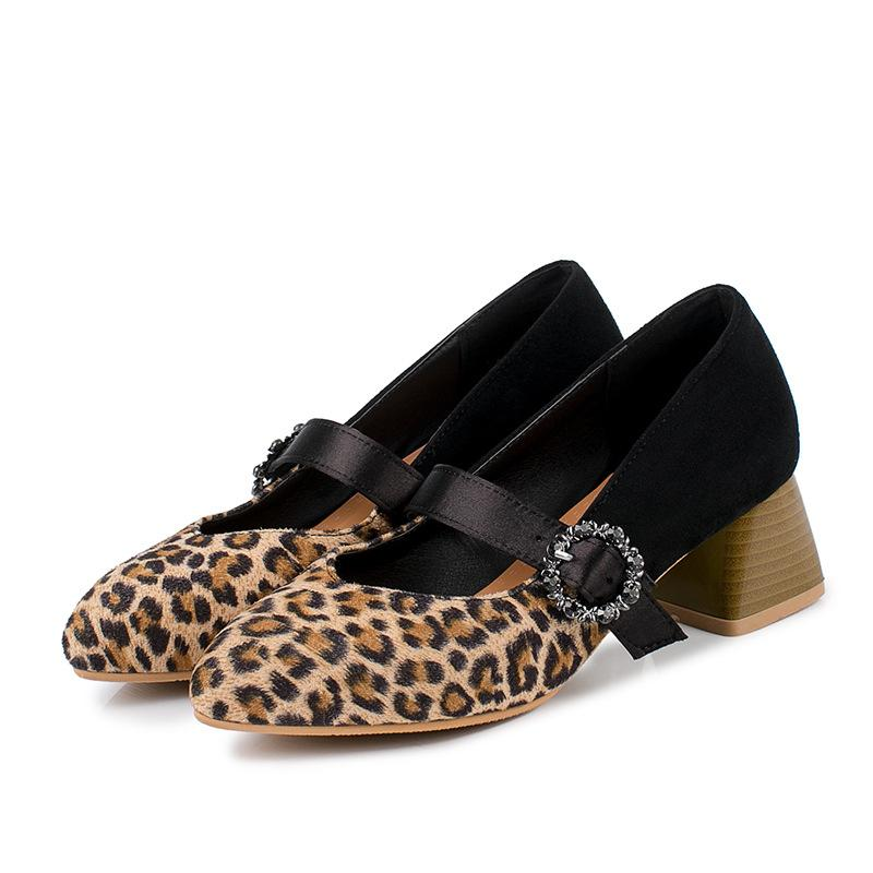 Leopard-print Plus Size Shallow Toe Middle Heeleded Women Pumps