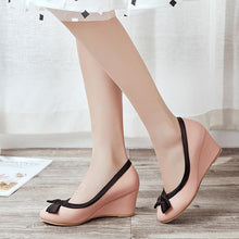 Load image into Gallery viewer, Casual Spring and Autumn Bowtie High-heel Shallow-mouthed Wedges Shoe Women