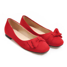 Load image into Gallery viewer, Girls Square-headed Bow Flat Shoes