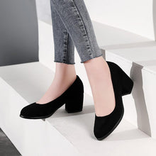 Load image into Gallery viewer, Lady Suede Medium Heel Shallow Mouth Shoes for Woman