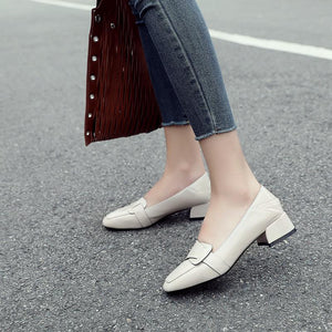 Woman's Leisure Shallow Mouth Low Heeled Chunky Pumps Shoes