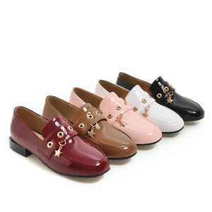 Woman Pantent Leather Low Heels Princess Shoes