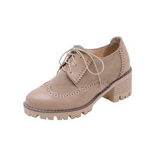 Woman's Lace Up Chunkey Mid Heels Oxford Shoes