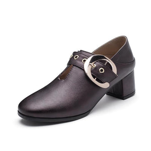 Woman's British Style Mid Heeled Oxford Shoes