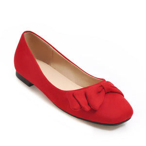 Girls Square-headed Bow Flat Shoes