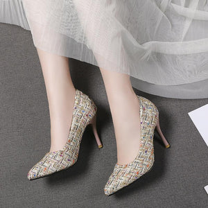 Pointed Toe Stiletto Heel  Shallow Mouth Stiletto Heel  Pumps